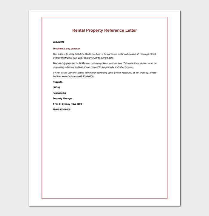 Rental Reference Letter for Property