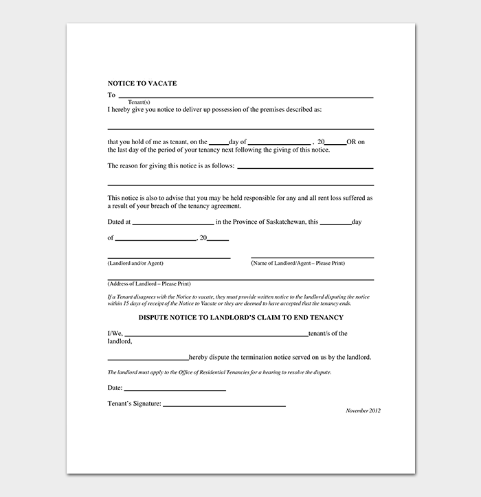 Residential Eviction Notice Tenancies Template