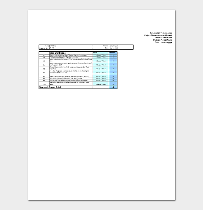 Risk Assessment Template Sheet