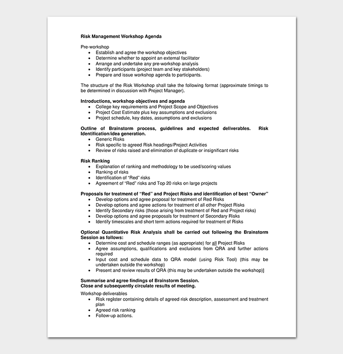 Risk Workshop Agenda Template