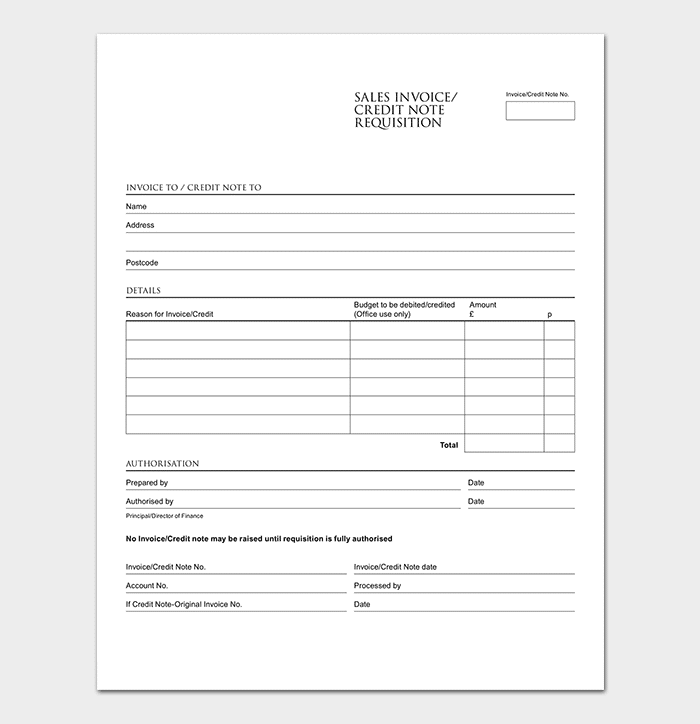 Sales Credit Note Template