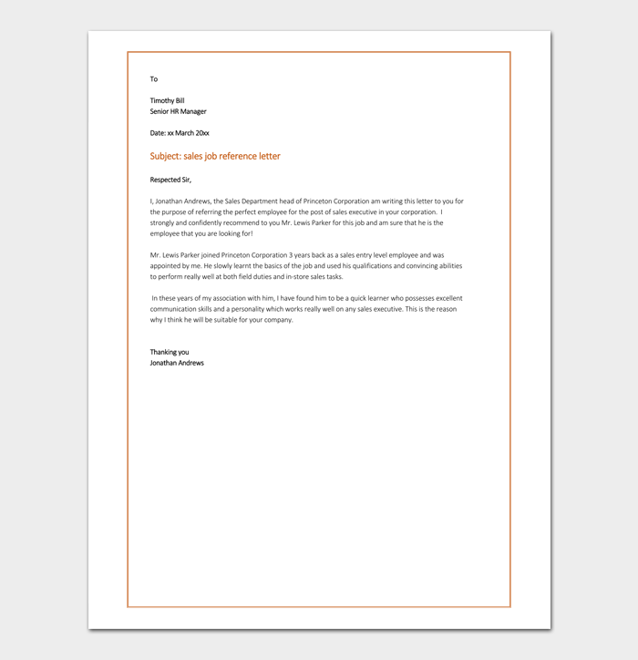Job reference letter 16 samples examples sales job reference letter example spiritdancerdesigns