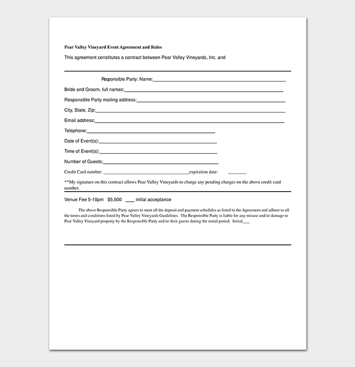 Event contract template 19 samples examples in word for Event booking form template word
