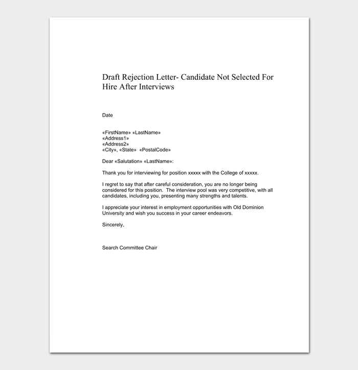 Sample Job rejection letter for employee
