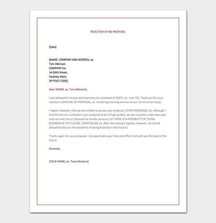 Bid Rejection Letter 10 Samples Examples