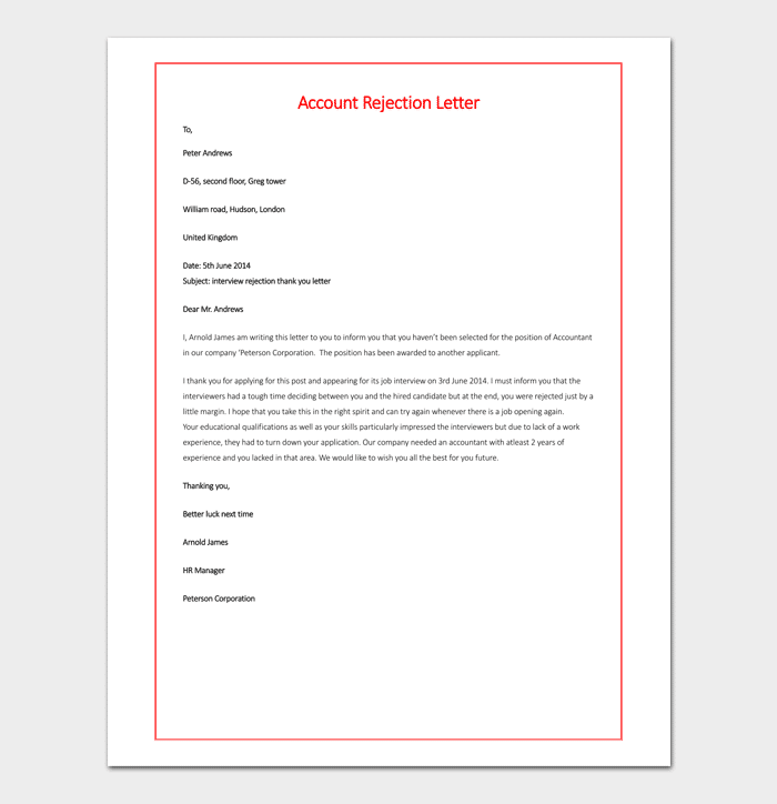 Sample of Account Rejection Letter