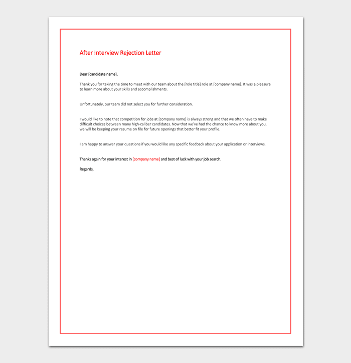 Interview rejection letter template 13 samples examples after interview rejection letter spiritdancerdesigns Choice Image