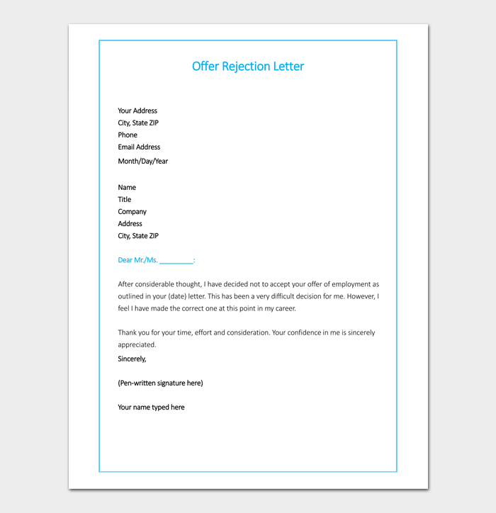 Offer Rejection Letter Template Samples Formats
