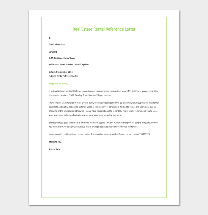 Sample of Real Estate Rental Reference Letter