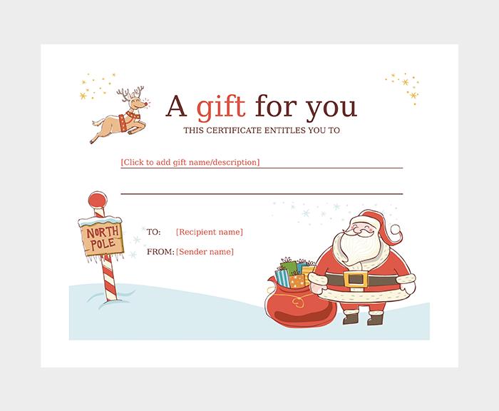 Santa Christmas Gift Certificate Template