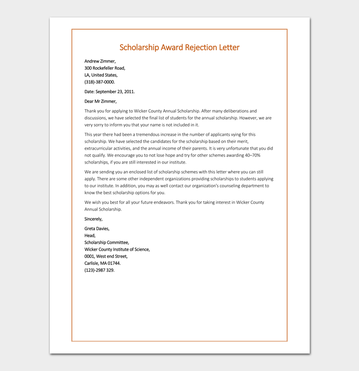 Scholarship Award Rejection Letter