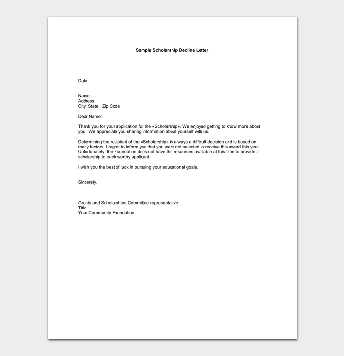 Scholarship Rejection Application Format
