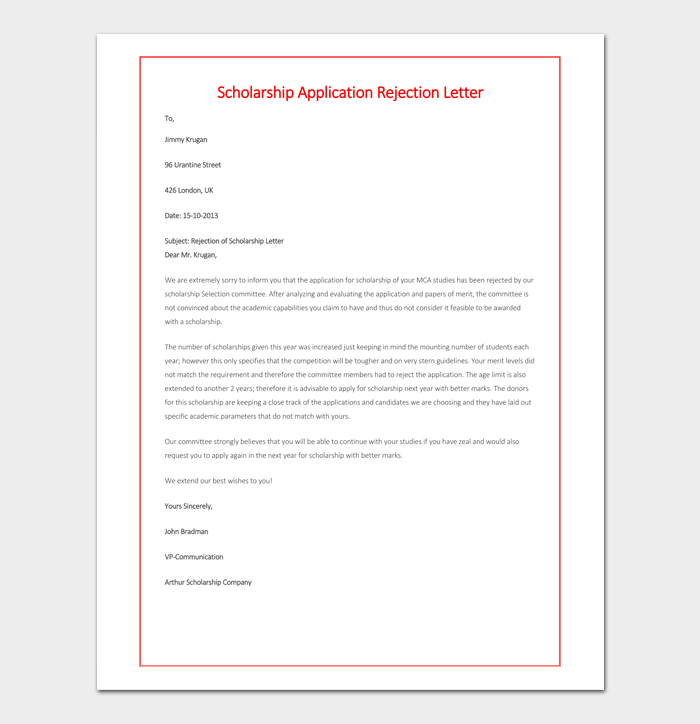 Scholarship rejection letter samples formats examples scholarship rejection application sample spiritdancerdesigns Gallery