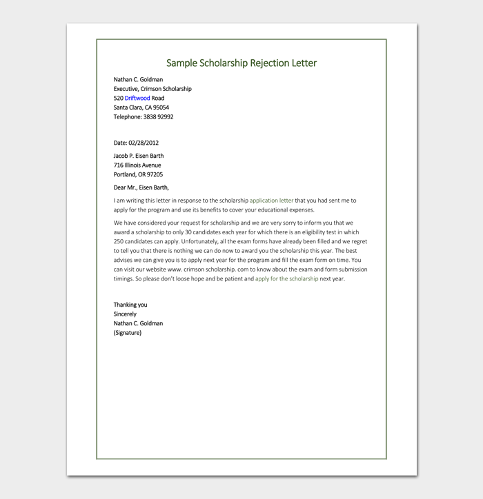 scholarship rejection letter format