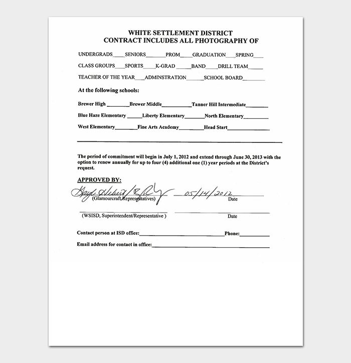 School Photography Contract
