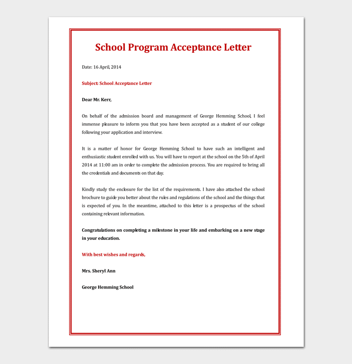 School Program Acceptance Letter