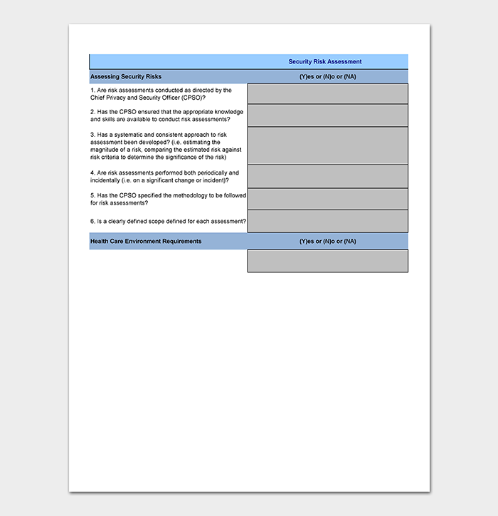 Security Assessment Template 18 Word Excel Pdf Format