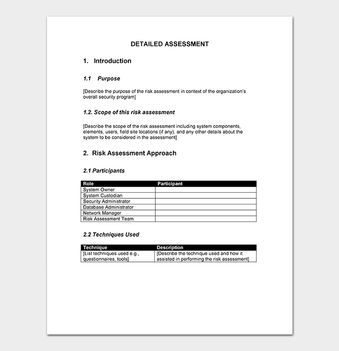 Security Risk Assessment Template WORD