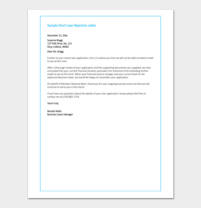 short loan rejection letter format