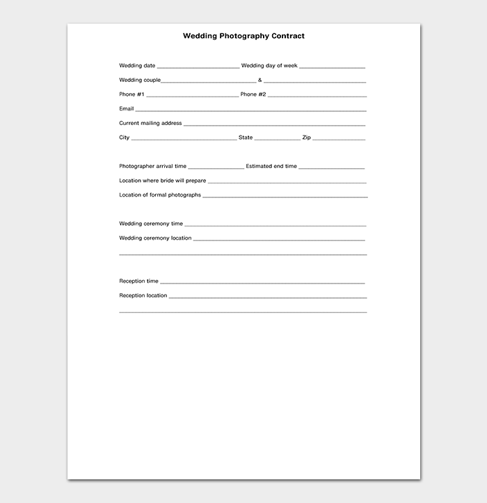 Simple wedding photography contract template gallery for Birth photography contract template