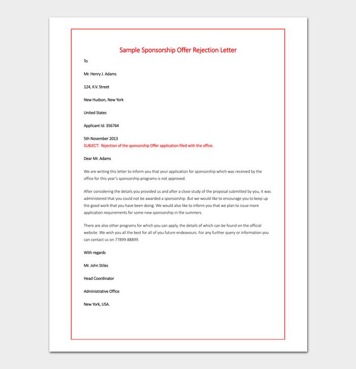 Sponsorship Offer Rejection Letter