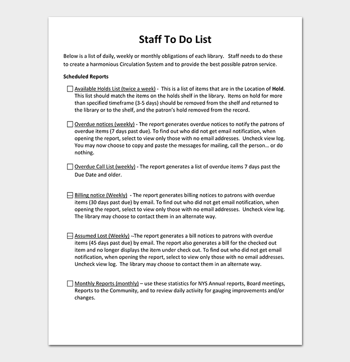 Staff To Do List