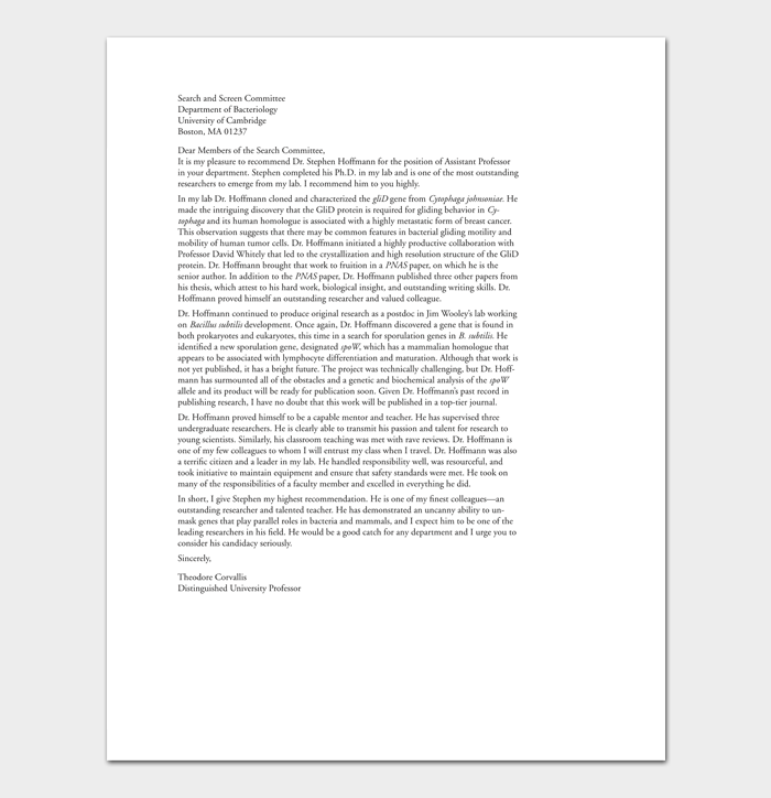 Student Job Reference Letter