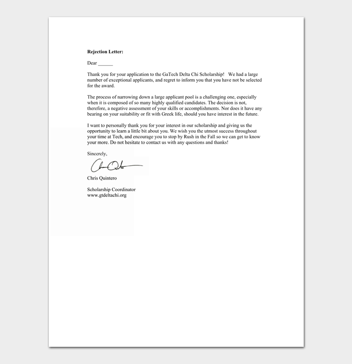 Student Scholarship Rejection Sample Letter