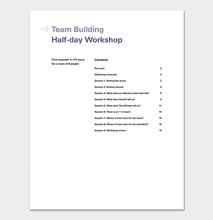 Team Building Workshop Agenda Template