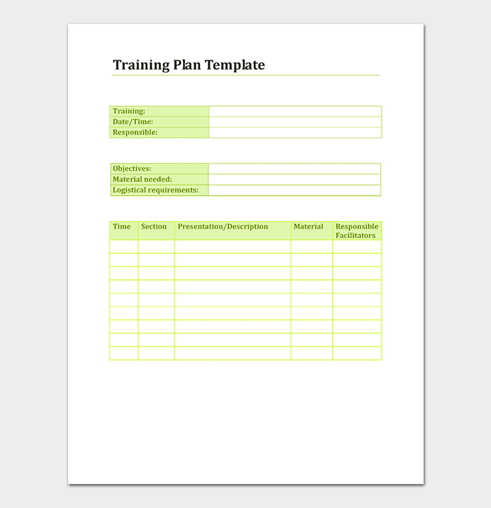 Trainers Advice Training Planner Template