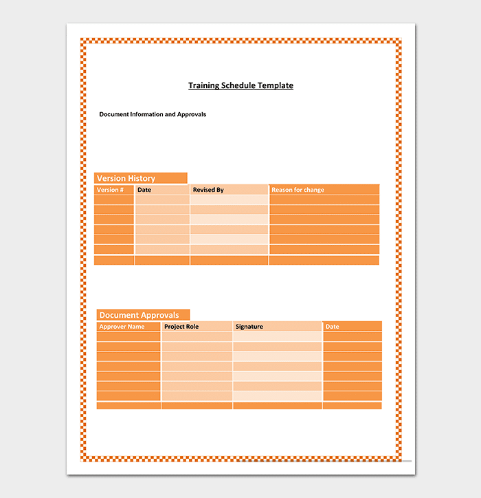 Training Planner Schedule Template