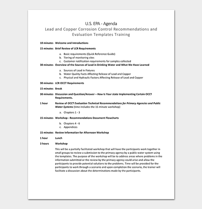 Training Workshop Agenda Template