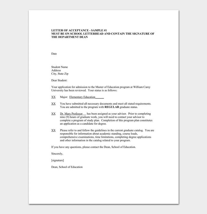 University Acceptance Letter Format