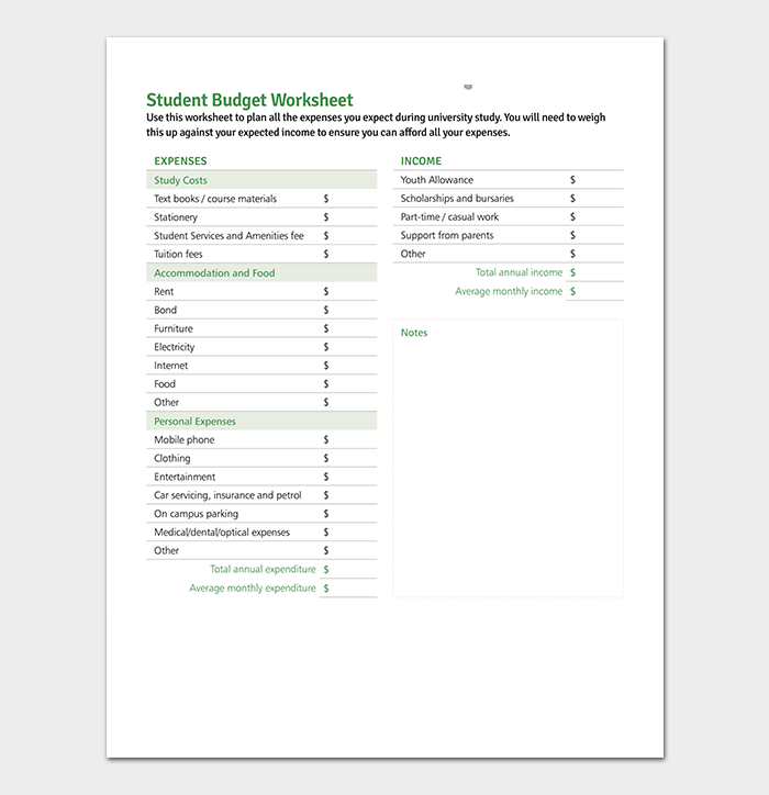 student budget template 19 for excel and pdf format