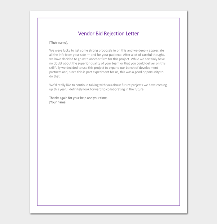Vendor Bid Rejection Letter Example