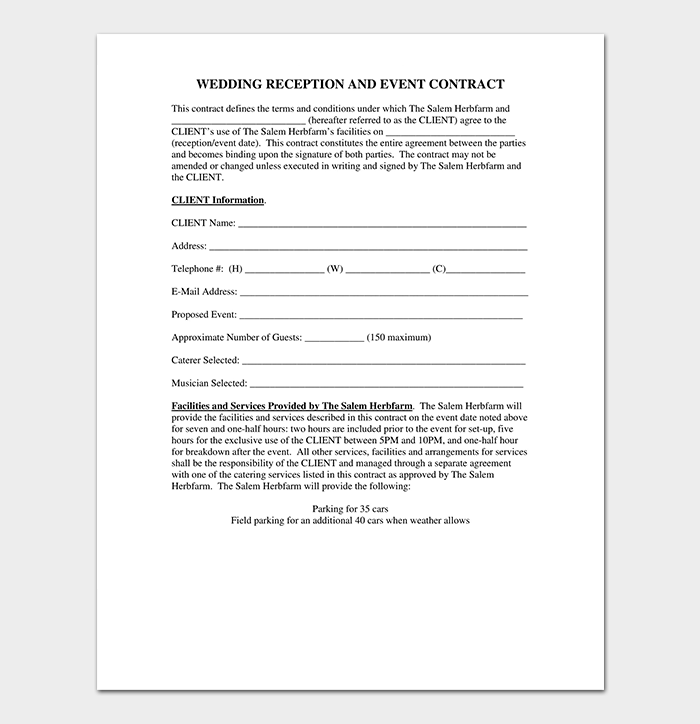 Wedding Event Contract Template PDF