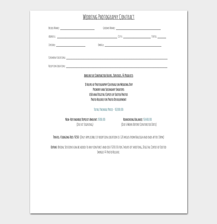Wedding Photography Contract PDF