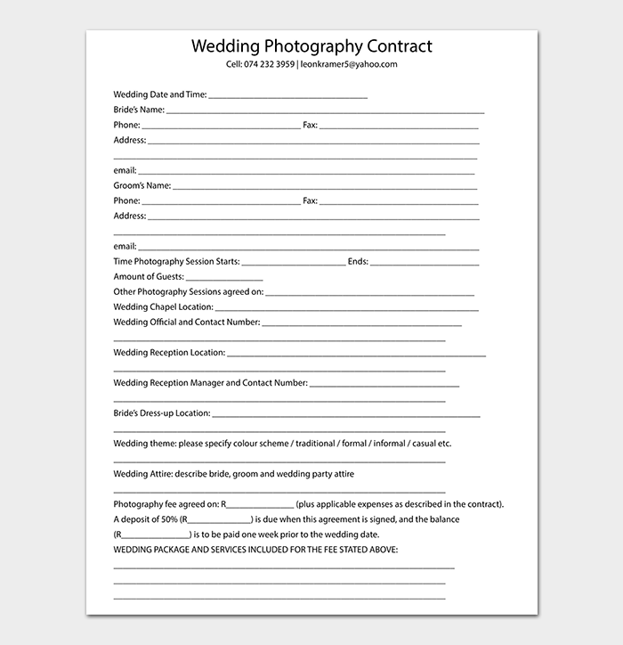 Wedding Photography Contract in PDF