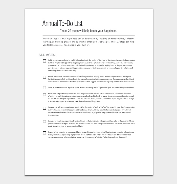 Yearly To Do List Template