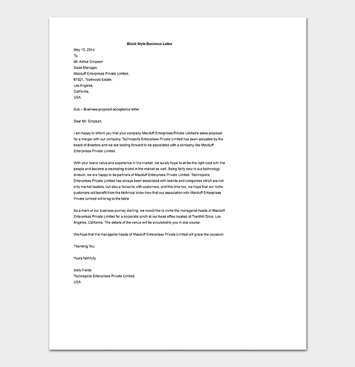 Block Style Business Letter