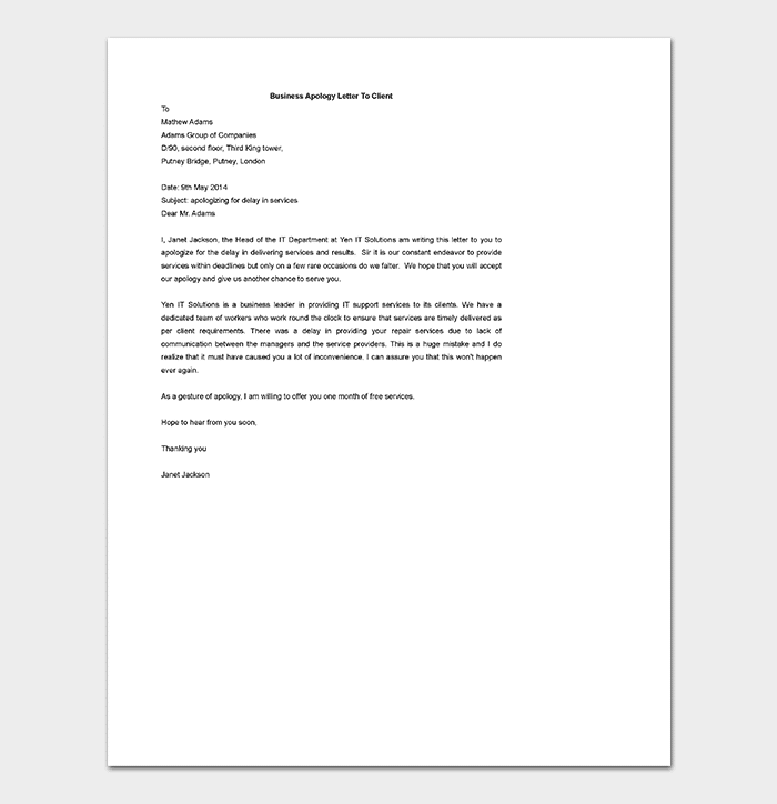 Business Apology Letter To Client