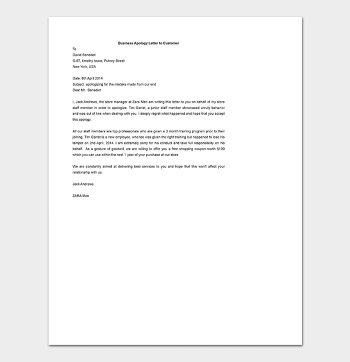 Business Letter Apology Gallery words form letters