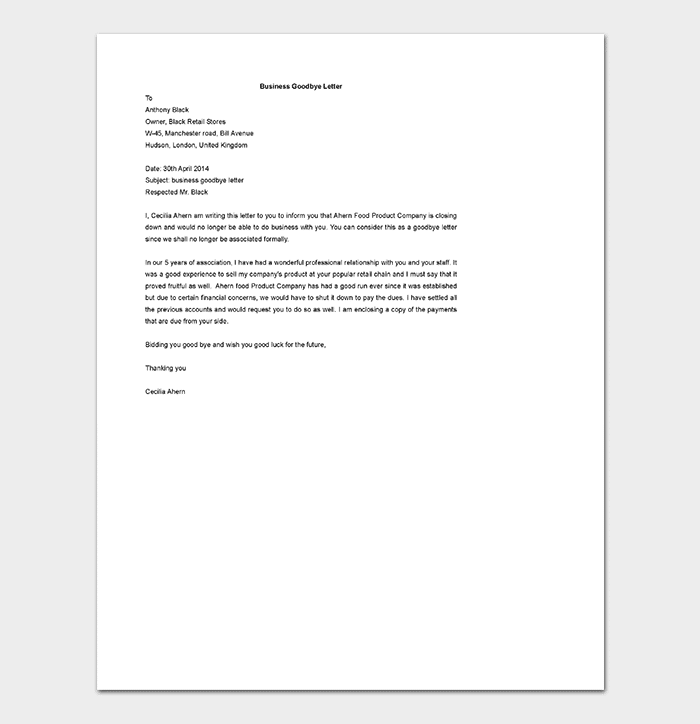 Business Goodbye Letter Template