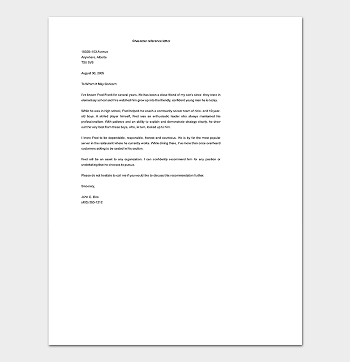 Reference letter template 28 examples samples character reference letter expocarfo Image collections