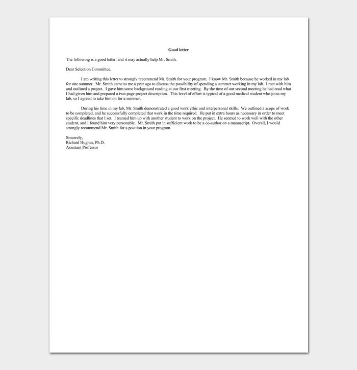 volunteer reference letter
