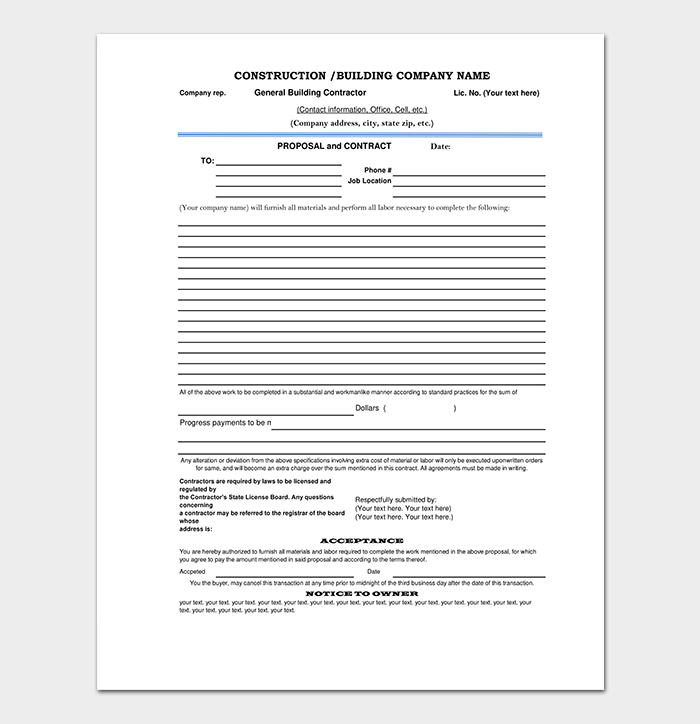 Construction Proposal Contract