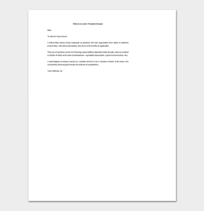 Editable Reference Letter