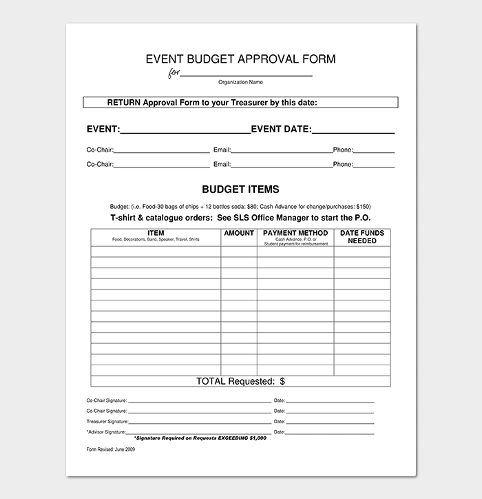 Event Budget Approval Form Template