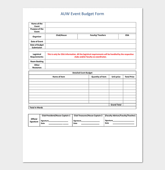 Event Budget Form Template PDF