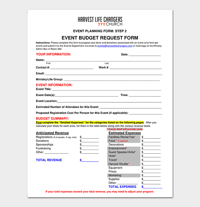 Event Budget Request Form Template
